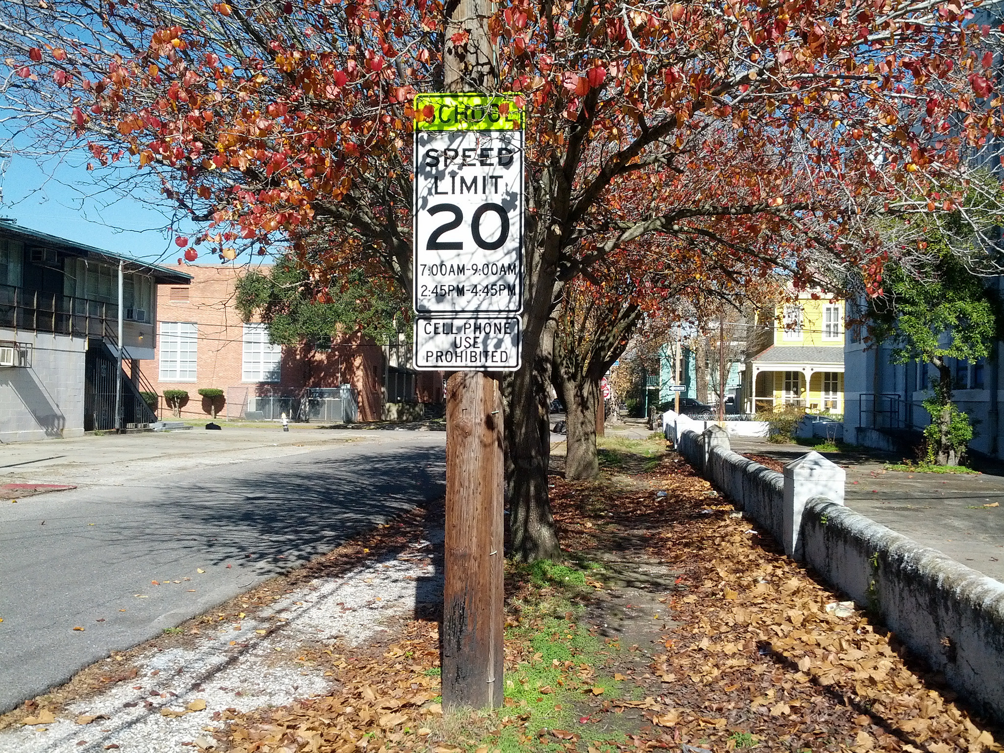 School speed limit sign in New Orleans